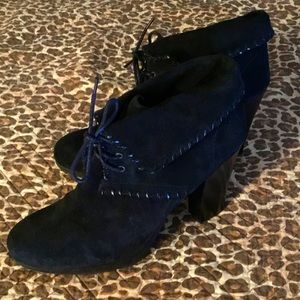 Black Suede Leather Lace Up Booties Heel Boots